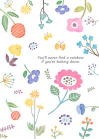 ธีมไลน์ Flowers and rainbow