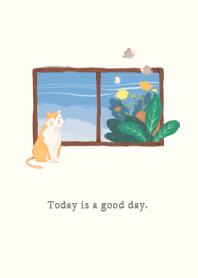 ธีมไลน์ Cat by the window. Today is a good day.