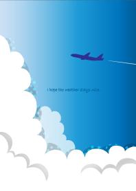 ธีมไลน์ Blue sky and an airplane