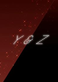 Y & Z cool red & black initial