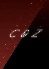 C & Z cool red & black initial