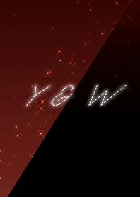 Y & W cool red & black initial